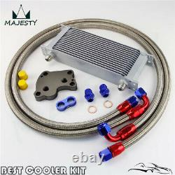 16 Row Engine Oil Cooler Kit AN10 For BMW Mini Cooper S R53 Supercharger Silver