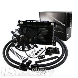 AN10 13Row Oil Cooler Kit For BMW Mini Cooper S Supercharger R50 R52 R53+7 Fan