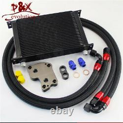 AN10 25 Row Engine Oil Cooler Kit For BMW Mini Cooper S R53 Supercharger Black